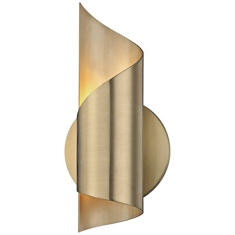 "Mitzi Evie 10"" High Aged Brass LED Wall Sconce"