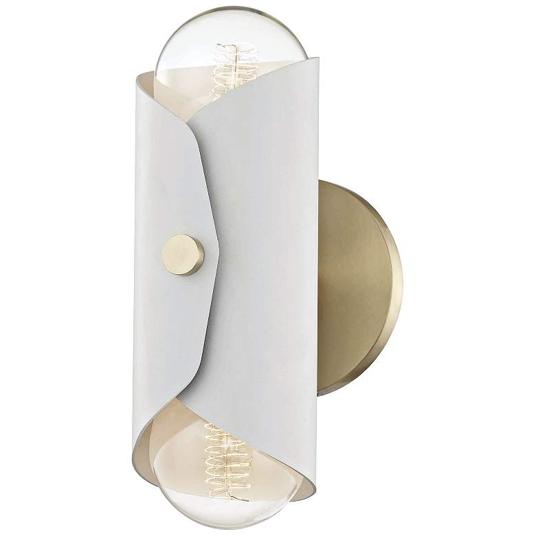 "Mitzi Immo 11"" High Aged Brass and White 2-Light Wall Sconce"