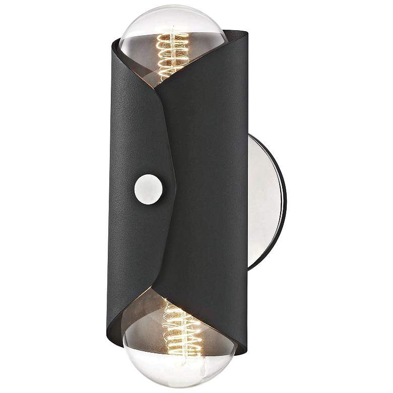 "Mitzi Immo 11"" High Nickel and Black 2-Light Wall Sconce"
