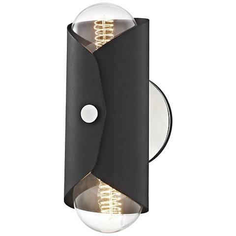 """Mitzi Immo 11"""" High Nickel and Black 2-Light Wall Sconce"""