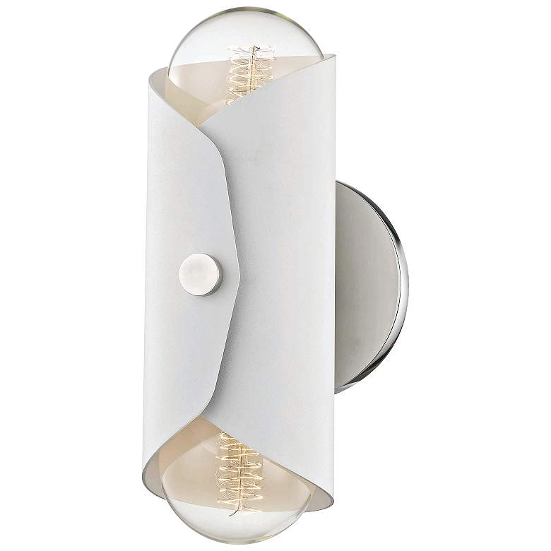 """Mitzi Immo 11"""" High Nickel and White 2-Light Wall Sconce"""