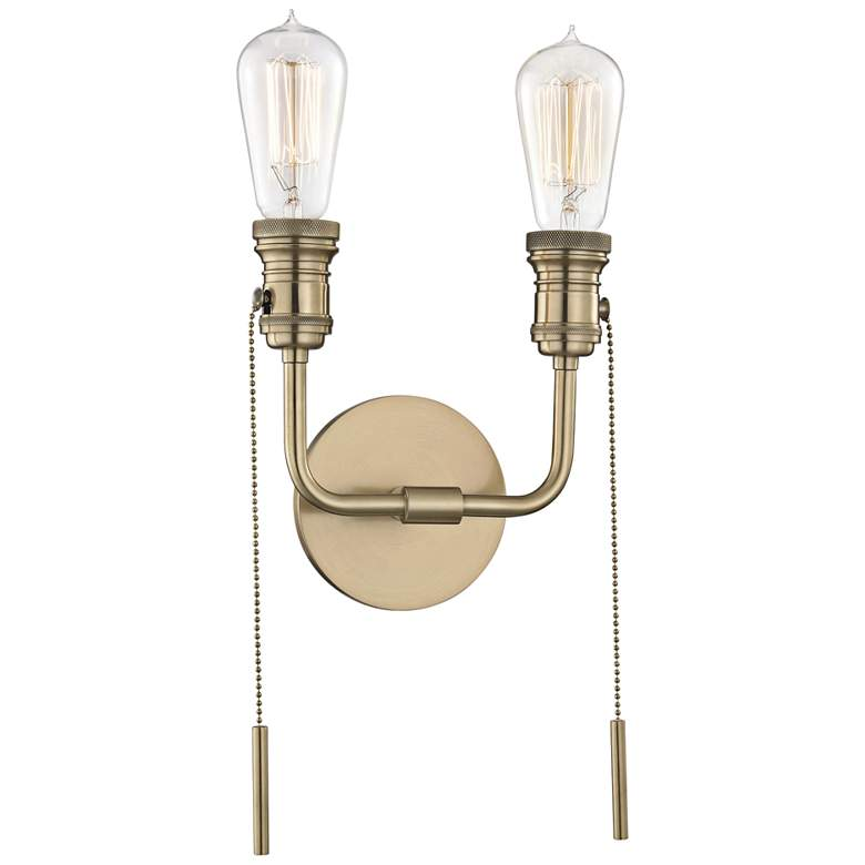 """Lexi 12 1/4""""H Aged Brass 2-Light Pull Chain Wall Sconce"""