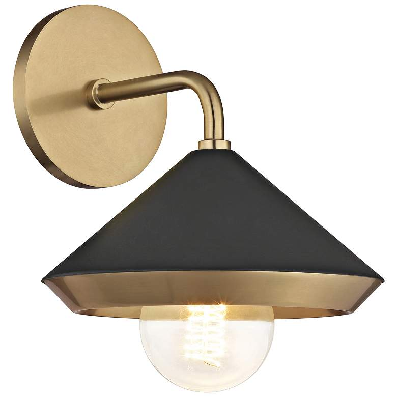 "Mitzi Marnie 10"" High Aged Brass and Black Wall Sconce"
