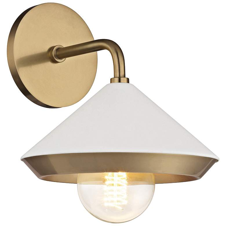 """Mitzi Marnie 10"""" High Aged Brass and White Wall Sconce"""