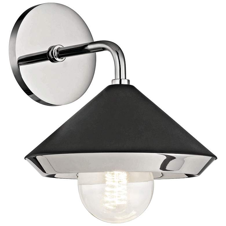 """Mitzi Marnie 10""""H Polished Nickel and Black Wall Sconce"""
