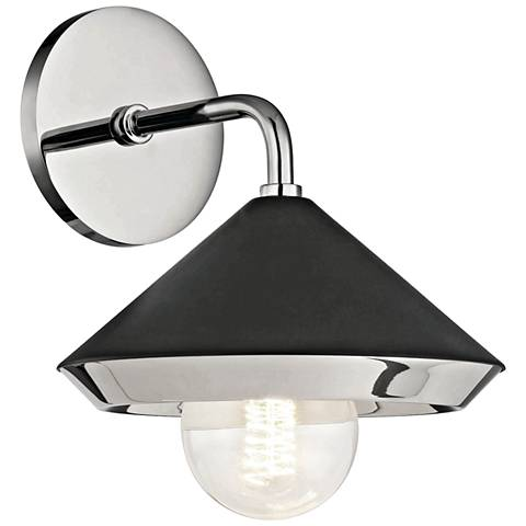 "Mitzi Marnie 10""H Polished Nickel and Black Wall Sconce"