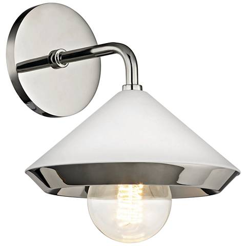 "Mitzi Marnie 10""H Polished Nickel and White Wall Sconce"