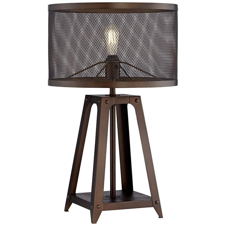 Gabe Metal Mesh Shade Farmhouse Table Lamp