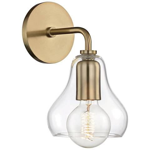 "Mitzi Sadie 10 1/2"" High Aged Brass Wall Sconce"