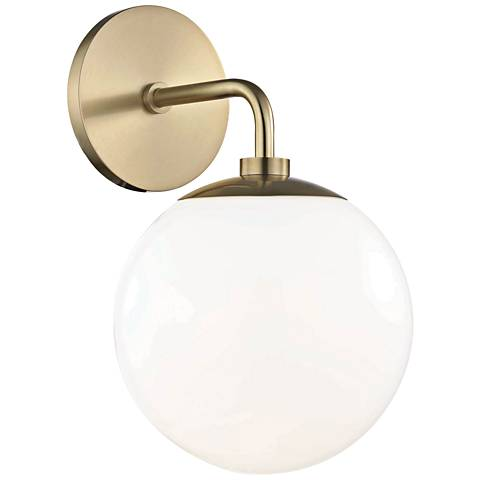 "Mitzi Stella 11 1/2"" High Aged Brass Wall Sconce"