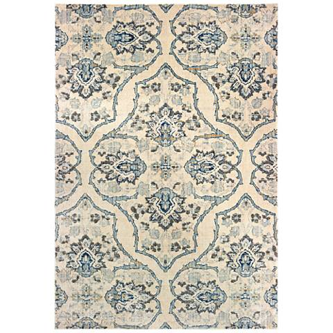 Pandora 5502W Ivory and Blue Area Rug