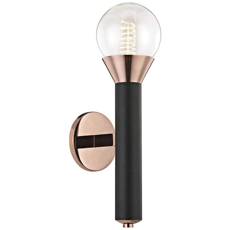 "Mitzi Via 17 1/2""H Polished Copper and Black Wall Sconce"