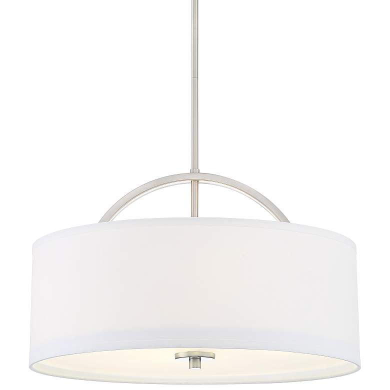 "Possini Euro Carina 20"" Wide Brushed Nickel Pendant Light"