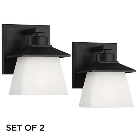 "Marlon 7"" High Black and Glass Outdoor Wall Lights Set of 2"