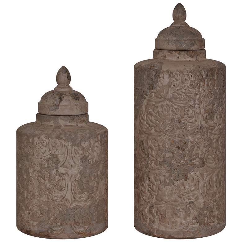 Camden Sand Stone Ceramic Canister Set of 2