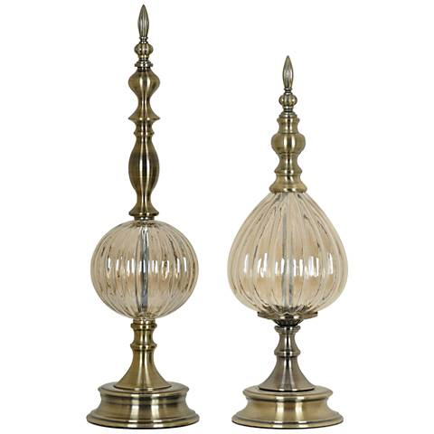 Antique Brass and Pearl Glass 2-Piece Finial Set