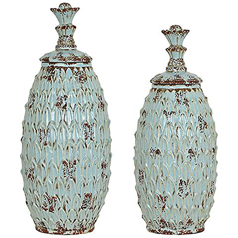 Crestview Collection Skyler Antique Blue Vase Set of 2