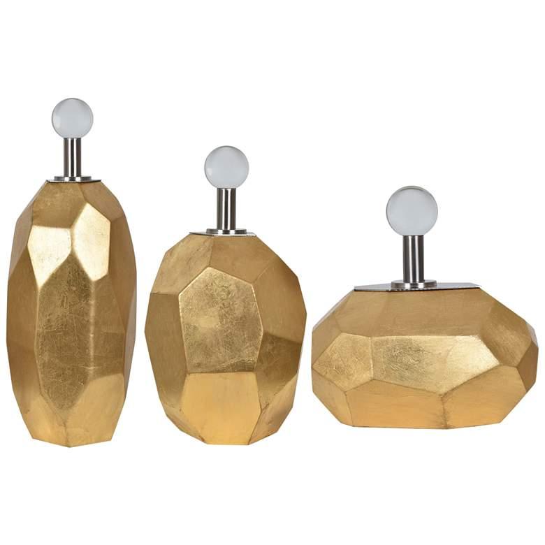 Roxy Gold Leaf Modern Vases - Set of