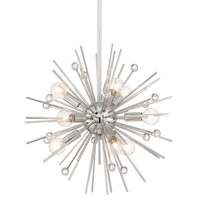 "Possini Euro Janae 18"" Wide Polished Nickel Pendant Light"