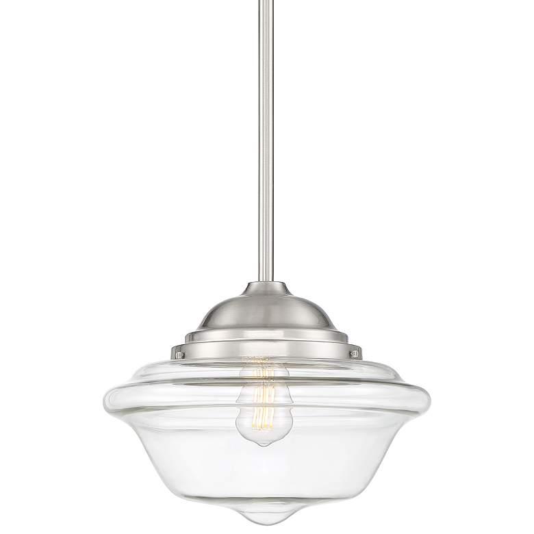 "Schoolhouse 13"" Wide Brushed Nickel LED Pendant Light"