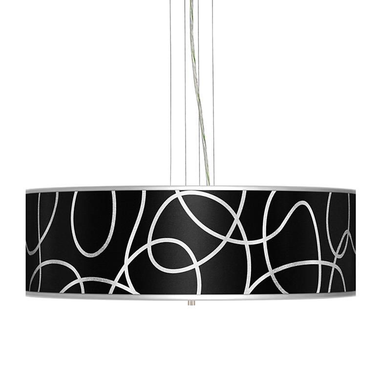 "Abstract Silver Metallic 24"" Wide 4-Light Pendant Chandelier"