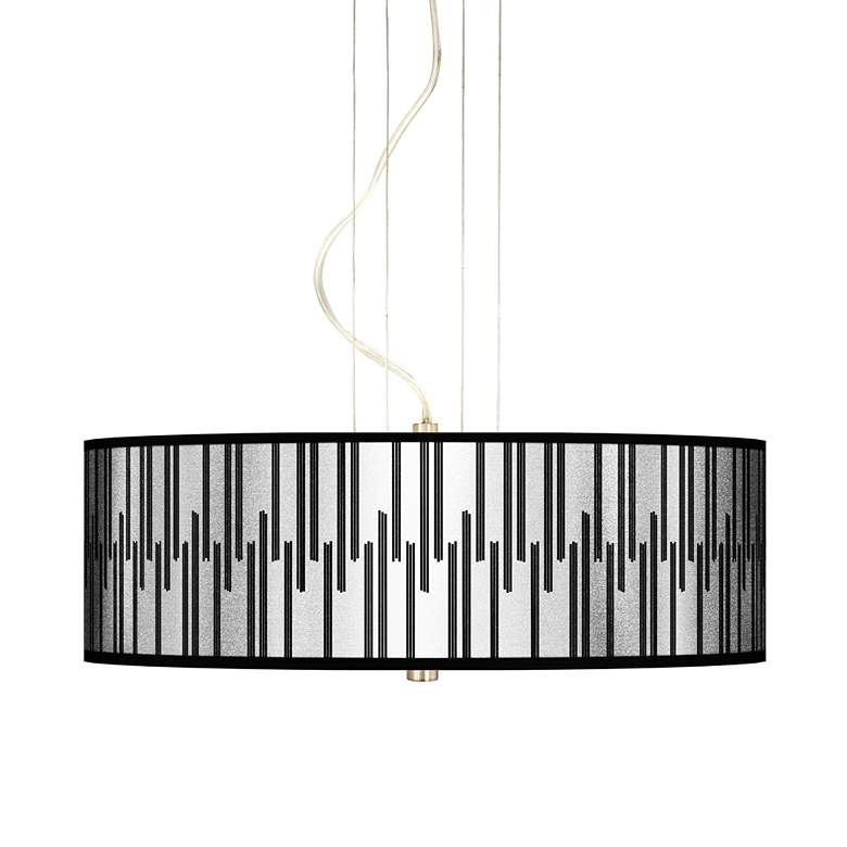 "Segments Silver Metallic I 20"" W 3-Light Pendant Chandelier"