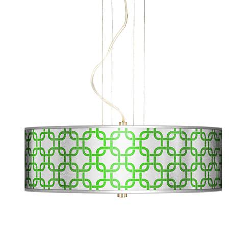 "Lattice Silver Metallic II 20"" W 3-Light Pendant Chandelier"