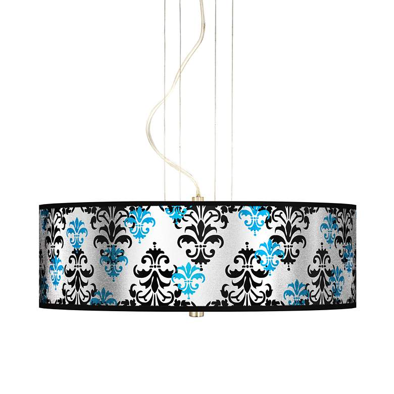 "Damask Shadow Silver Metallic 20"" W Pendant Chandelier"