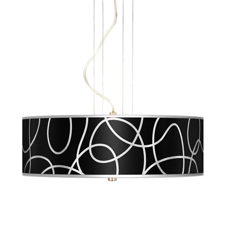 "Abstract Silver Metallic 20"" W 3-Light Pendant Chandelier"