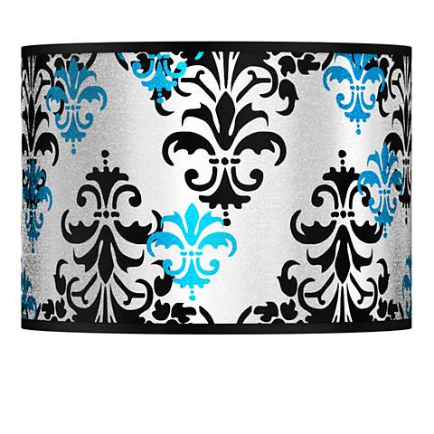 Damask Shadow Silver Metallic Lamp Shade 13.5x13.5x10 (Spider)