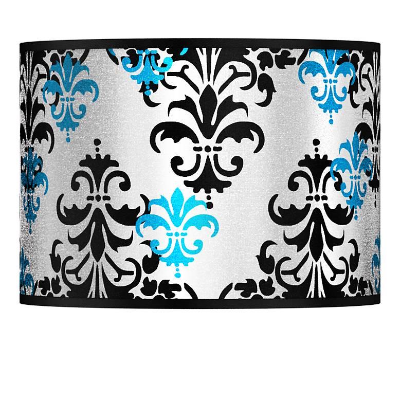 Damask Shadow Silver Metallic Lamp Shade 13.5x13.5x10 (Spider)