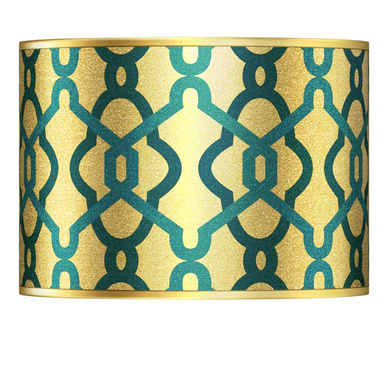 Hyper Links Gold Metallic Giclee Lamp Shade 13.5x13.5x10 (Spider)