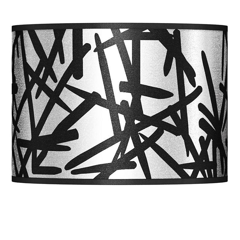 Sketchy Silver Metallic Giclee Lamp Shade 13.5x13.5x10 (Spider)