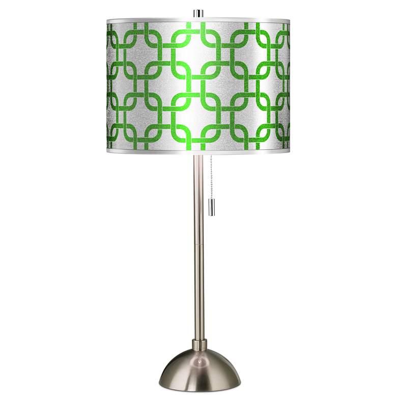 Lattice Silver Metallic II Giclee Brushed Nickel Table Lamp