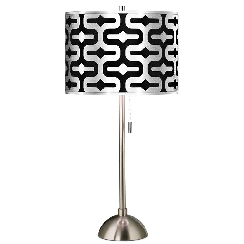 Reflection Silver Metallic Giclee Brushed Nickel Table Lamp
