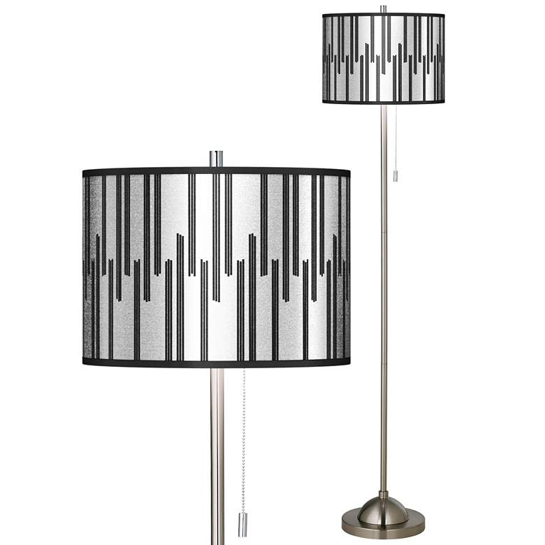 Segments Silver Metallic I Brushed Nickel Pull Chain Floor Lamp