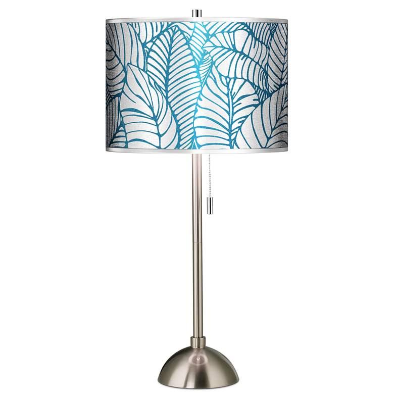 Tropical Leaves Silver Metallic Brushed Nickel Table Lamp