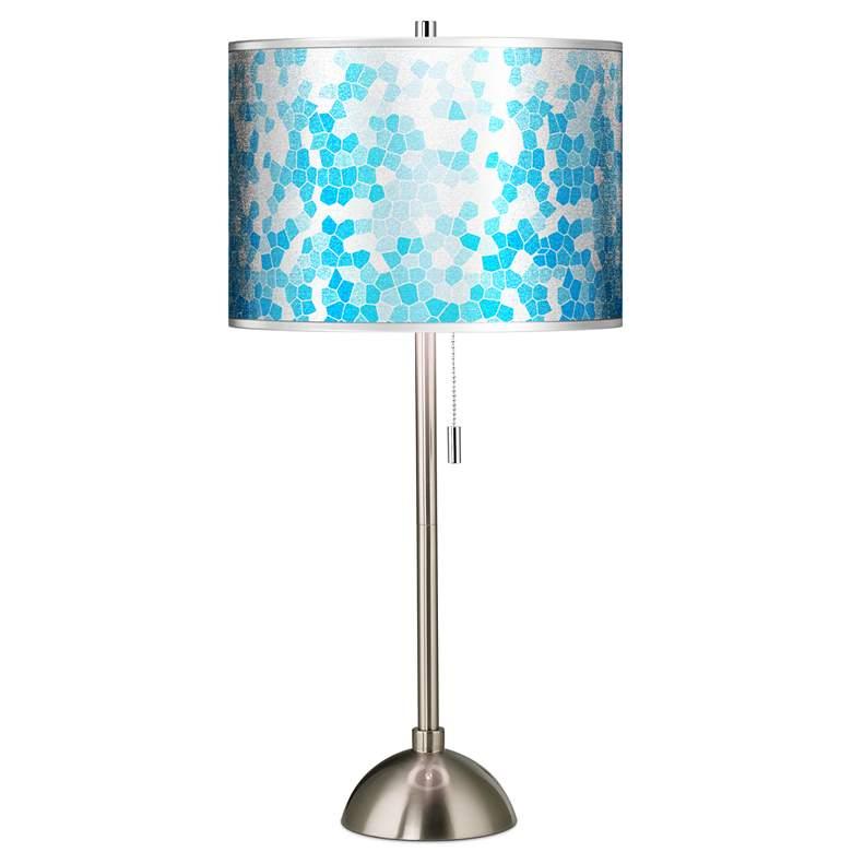 Mosaic Silver Metallic Giclee Brushed Nickel Table Lamp