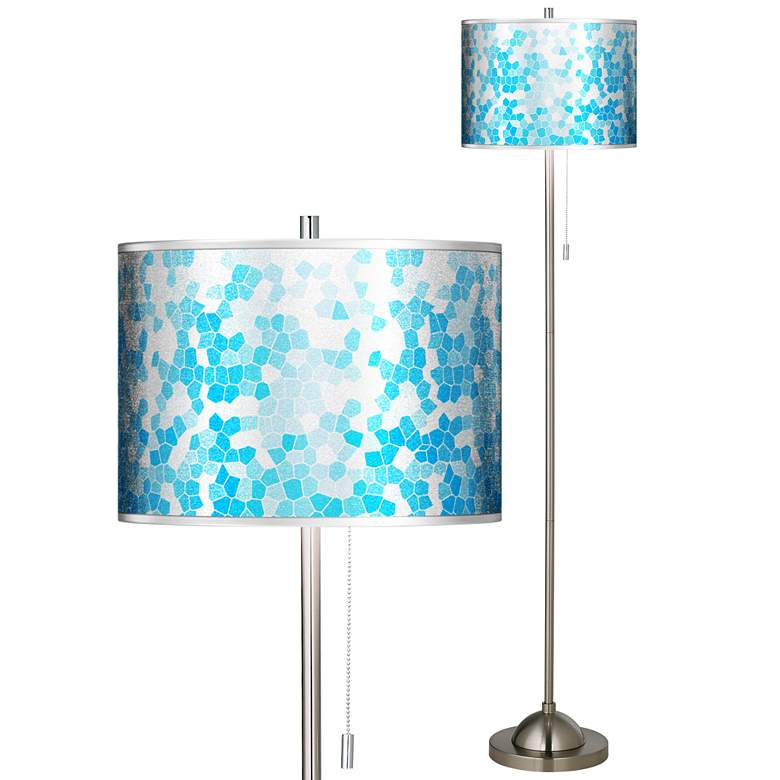Mosaic Silver Metallic Brushed Nickel Pull Chain Floor Lamp