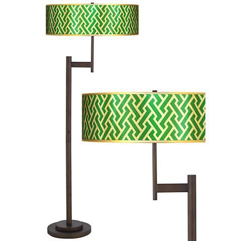 Brick Weave Gold Metallic Light Blaster™ Bronze Floor Lamp