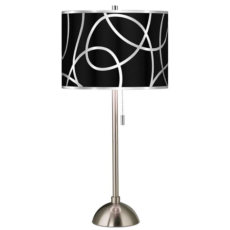 Abstract Silver Metallic Giclee Brushed Nickel Table Lamp