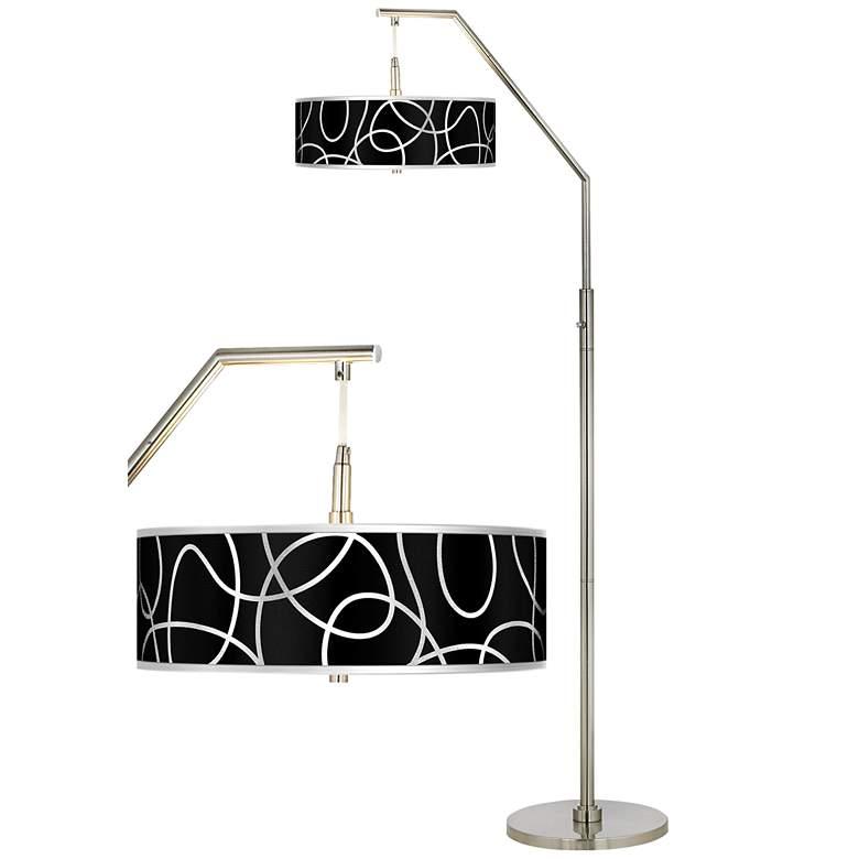 Abstract Silver Metallic Giclee Shade Arc Floor Lamp