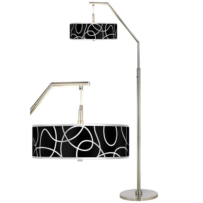 Brushed Nickel Arc Floor Lamp with Translucent Shade