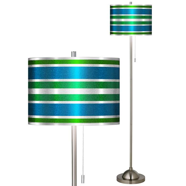 Multi Color Stripes Silver Metallic Brushed Nickel Floor Lamp