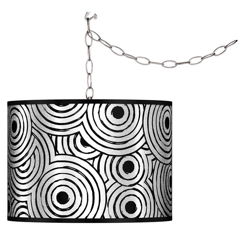 Swag Style Circle Daze Silver Metallic Shade Plug-In Chandelier