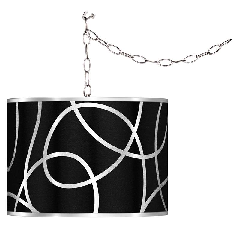 Swag Style Abstract Silver Metallic Shade Plug-In Chandelier