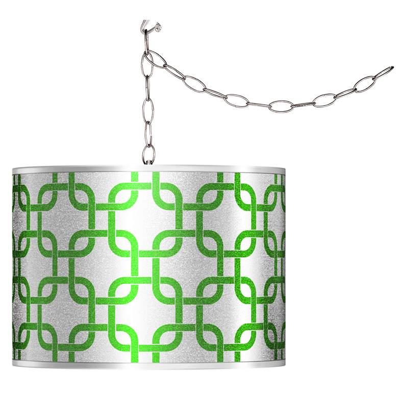Swag Style Lattice Silver Metallic II Shade Plug-In Chandelier