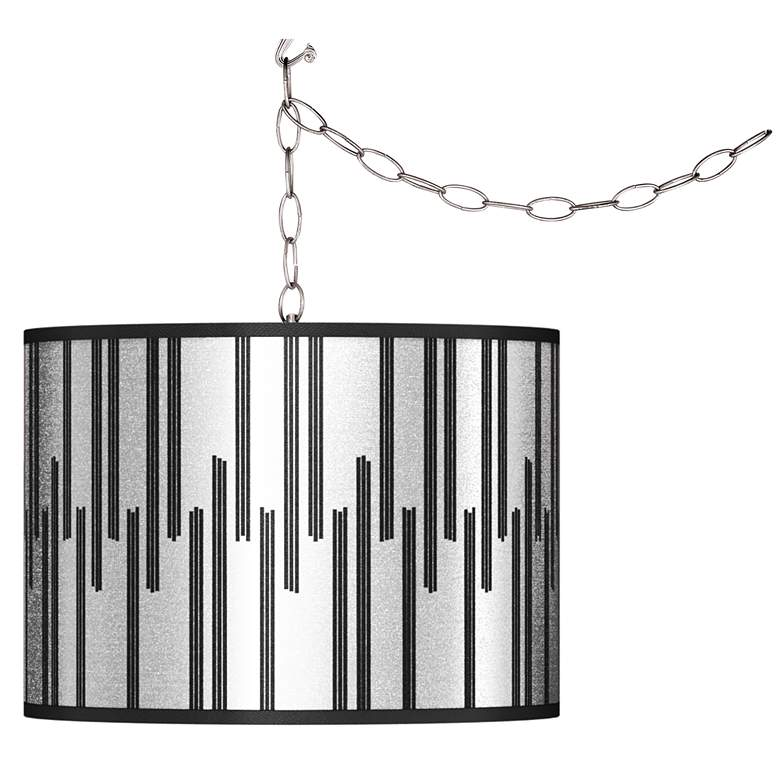 Swag Style Segments Silver Metallic I Shade Plug-In Chandelier
