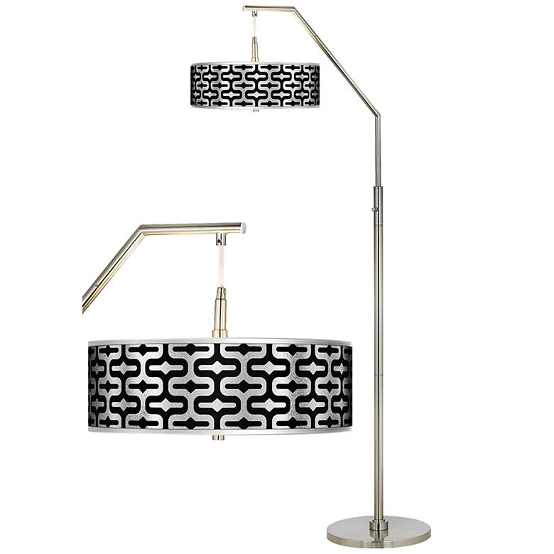 Reflection Silver Metallic Giclee Shade Arc Floor Lamp