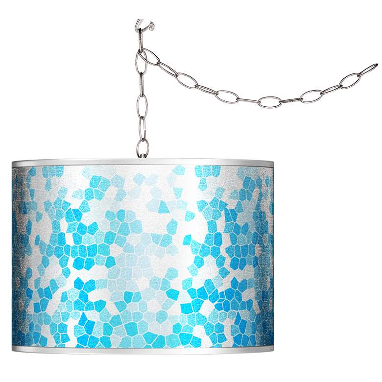 Swag Style Mosaic Silver Metallic Giclee Shade Plug-In Chandelier